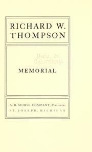 Cover of: Richard W. Thompson memorial by