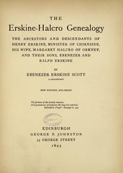 Cover of: The Erskine Halcro genealogy | Ebenezer Erskine Scott