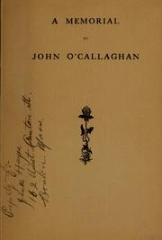 Cover of: A memorial to John O'Callaghan |