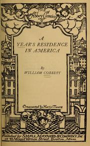 Cover of: A year's residence in America | William Cobbett