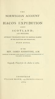 Cover of: The Norwegian account of Haco's expedition against Scotland, a.d. MCCLXIII | Sturla Þórðarson