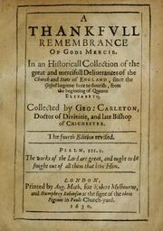 Cover of: A thankfvll remembrance of Gods mercie | Carleton, George