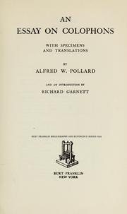 Cover of: An essay on colophons | Alfred William Pollard