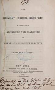Cover of: The Sunday school reciter | Daniel P. Kidder