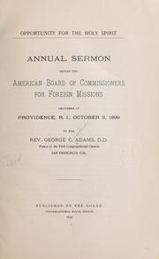 Cover of: Opportunity for the Holy Spirit by George Crawford Adams