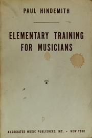 Cover of: Elementary training for musicians | Paul Hindemith