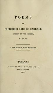 Cover of: Poems | Carlisle, Frederick Howard Earl of