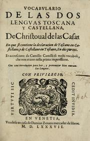 Cover of: Vocabularo de las dos lenguas toscana y castellana | Cristobal de las Casas