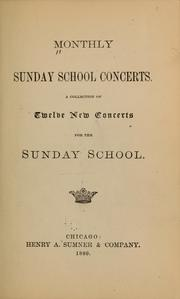Cover of: Monthly Sunday school concerts |