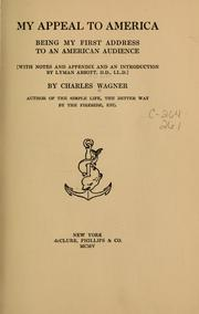 Cover of: My appeal to America | Wagner, Charles