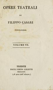 Cover of: Opere teatrali | Filippo Casari