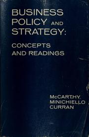 Cover of: Business policy and strategy by