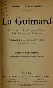 Cover of: La Guimard | Edmond de Goncourt