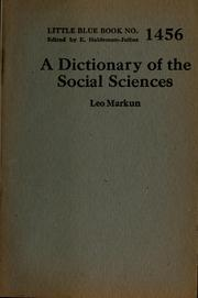 Cover of: A dictionary of the social sciences by Leo Markun