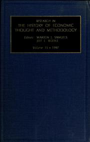 Cover of: Research in the history of economic thought and methodology by Warren J. Samuels, Jeff Biddle
