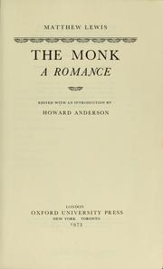 Cover of: The Monk | Matthew Gregory Lewis