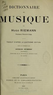 Cover of: Dictionnaire de musique de Hugo Riemann by Hugo Riemann
