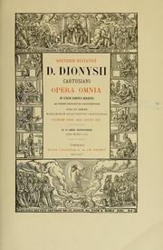Cover of: Doctoris ecstatici D. Dionysii Cartusiani Opera omnia by Denis the Carthusian
