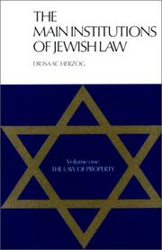 Cover of: Main Institutions of Jewish Law (2 vol.), S/C | Isaac Herzog