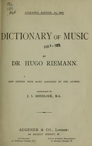 Cover of: Dictionary of music by Hugo Riemann
