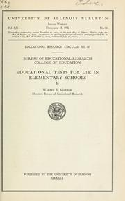 Cover of: Educational tests for use in elementary schools | Walter Scott Monroe