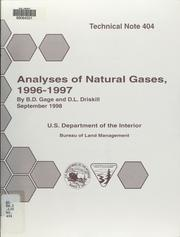 Cover of: Analyses of natural gases, 1996-97 | B. D. Gage