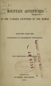 Cover of: Mountain adventures in the various countries of the world | Zurcher