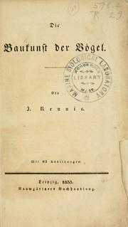 Cover of: Die baukunst der vogel | James Rennie