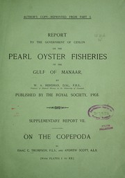 Cover of: Report of the Copepoda collected by Professor Herdman, at Ceylon, in 1902 | Isaac C. Thompson
