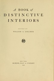 Cover of: A book of distinctive interiors by William Auerbach Vollmer