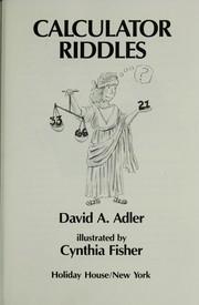 Cover of: Calculator riddles | David A. Adler