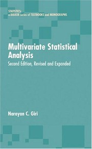 Cover of: Multivariate statistical analysis by Narayan C. Giri