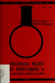Cover of: Biological values of provitamins A for man, domestic mammals, and birds | National Committee on Animal Nutrition (Canada)