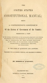 Cover of: The United States constitutional manual | Mordecai M'Kinney