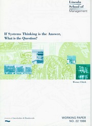 Cover of: If systems thinking is the answer, what is the question? | Werner Ulrich