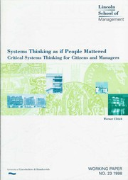 Cover of: Systems thinking as if people mattered | Werner Ulrich