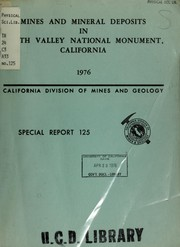 Cover of: Mines and mineral deposits in Death Valley National Monument, California by Evans, James R.