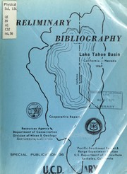 Cover of: Lake Tahoe Basin - a preliminary bibliography by Matthews, Robert A.