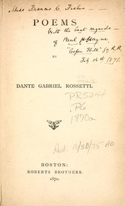 Cover of: Poems | Dante Gabriel Rossetti