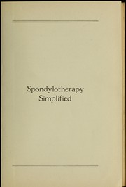 Cover of: Spondylotherapy simplified | Alva Emery Gregory