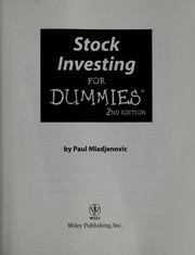 Cover of: Stock investing for dummies | Paul J. Mladjenovic