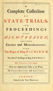 Cover of: A complete collection of state-trials and proceedings for high-treason | Emlyn, Sollom