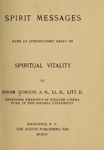 Spirit messages by Corson, Hiram