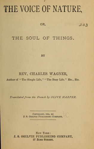 The voice of nature by Wagner, Charles