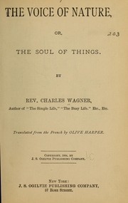 Cover of: The voice of nature | Wagner, Charles