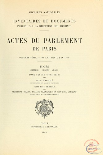 Actes du Parlement de Paris by France. Parlement (Paris)