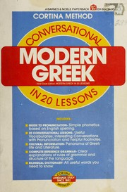 Cover of: Cortina's modern Greek in 20 lessons by George Christos Pappageotes