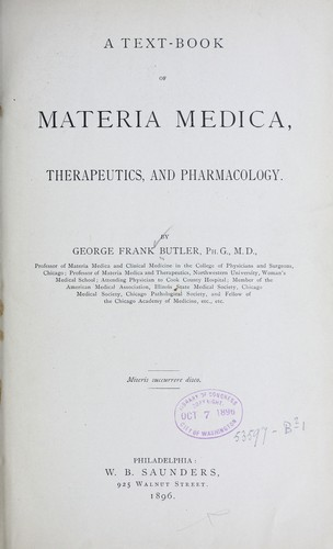 A text-book of materia medica, therapeutics and pharmacology by George F. Butler