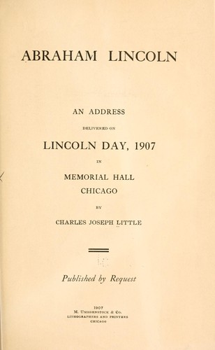 Abraham Lincoln by Little, Charles Joseph