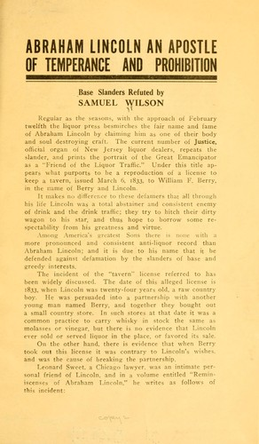 Abraham Lincoln an apostle of temperance and prohibition by Samuel Wilson
